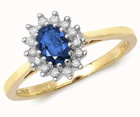 Treasure House 9k Yellow Gold Sapphire Diamond Cluster Ring RD260S
