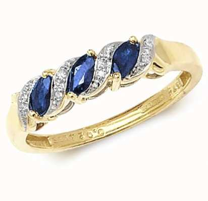 Treasure House 9k Yellow Gold Sapphire Diamond Ring RD274S