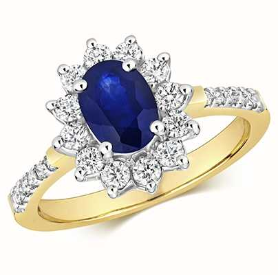 Treasure House 9k Yellow Gold Sapphire Diamond Set Shoulders Ring RD282S