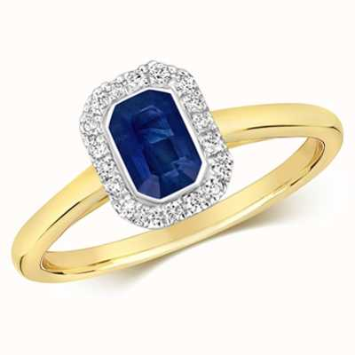 Treasure House 9k Yellow Gold Sapphire Diamond Octagon Ring RD410S