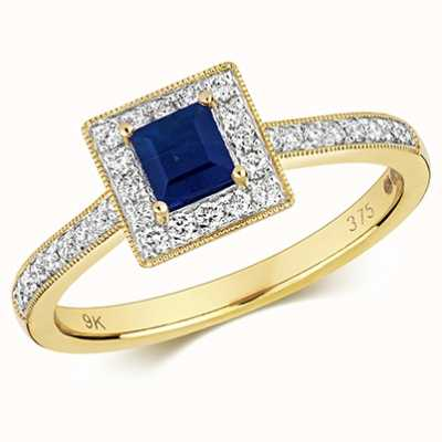 Treasure House 9k Yellow Gold Sapphire Diamond Square Ring RD413S