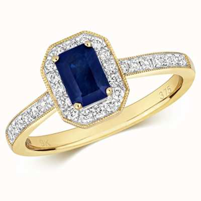 Treasure House 9k Yellow Gold Sapphire Diamond Octagon Ring RD415S