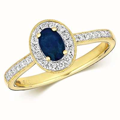 Treasure House 9k Yellow Gold Sapphire Diamond Round Ring RD416S