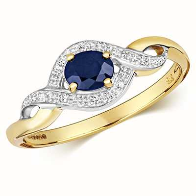 Treasure House 9k Yellow Gold Sapphire Diamond Ring RD435S