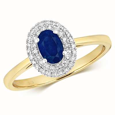 Treasure House 9k Yellow Gold Sapphire Diamond Ring RD448S