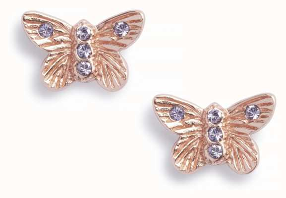 Olivia Burton | Bejewelled Butterfly | Rose Gold | Tanzanite | Studs | OBJ16MBE07