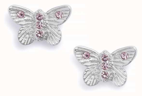 Olivia Burton | Bejewelled Butterfly | Silver | Pink Stone | Studs | OBJ16MBE08