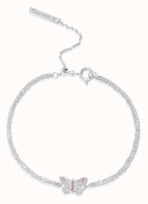 Olivia Burton | Bejewelled Butterfly | Silver | Pink Stone | Bracelet | OBJ16MBB05