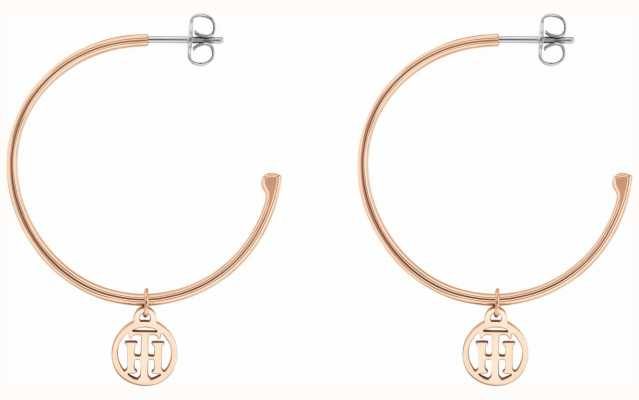 Tommy Hilfiger | Womens | Rose Gold | Half Hoop Logo Earrings | 2780024