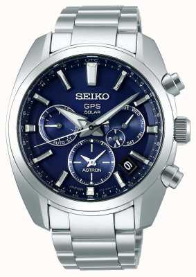 Seiko Astron Solar GPS Men's Blue Dial Stainless Steel Bracelet SSH019J1