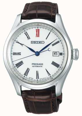 Seiko Presage Men's Automatic White Dial Brown Leather Japanese Movement SPB095J1