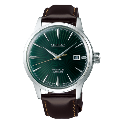 Seiko Presage Automatic Green Dial 'Cocktail Time' Brown Leather Strap SRPD37J1