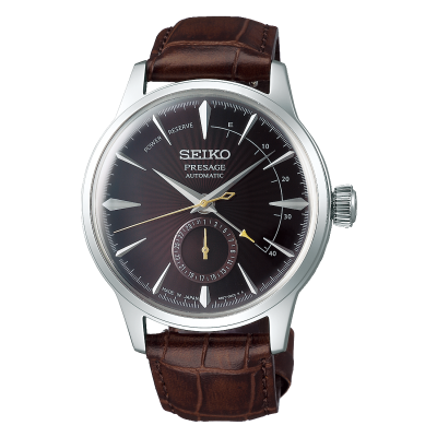 Seiko Presage Automatic Black Cat Martini 'Cocktail Time' Brown Leather SSA393J1