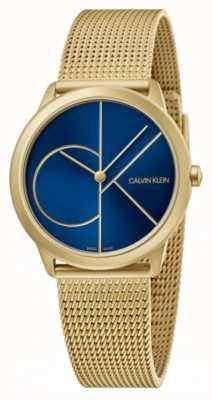 Calvin Klein Minimal | Gold Mesh Bracelet | Blue Dial | K3M5255N