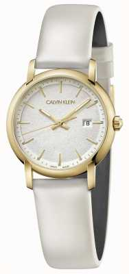 Calvin Klein | Womens White Leather Strap | Silver Dial | K9H235L6