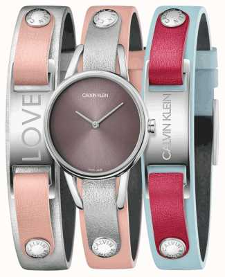 Calvin Klein | My Calvins | Pink Leather Strap | Watch And Bracelet Set | K9D231ZZ