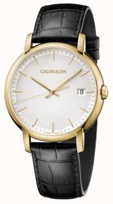 Calvin Klein | Mens Minimal | Black Leather Strap | White Dial | K9H215C6