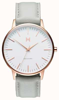 MVMT Boulevard Beverly | Grey Leather Strap | White Dial D-MB01-RGGR