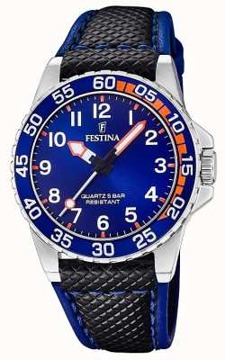 Festina | Mens/Junior's Black Leather | Blue Dial | F20460/2