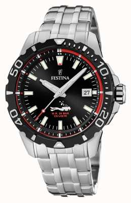 Festina | Mens Divers | Stainless Steel Bracelet | Black Dial | F20461/2