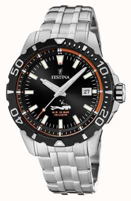 Festina | Mens Divers | Stainless Steel Bracelet | Black Dial | F20461/3