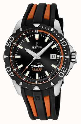 Festina | Mens Divers | Black/Orange Rubber Strap | Black Dial | F20462/3