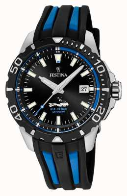 Festina | Mens Divers | Black/Blue Rubber Strap | Black Dial | F20462/4