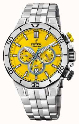Festina Tour Of Britain 2019 | Stainless Steel  | Yellow Dial | F20448/A