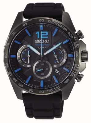 Seiko | Neo Sports | Mens | Black Chronograph | Black Strap | SSB353P1