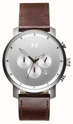 MVMT Chrono 45mm Silver Brown | Brown Strap | Silver Dial D-MC01-SBRL
