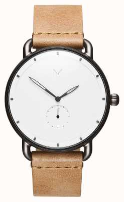 MVMT Revolver Myst | Brown Leather Strap | White Dial D-MR01-WC