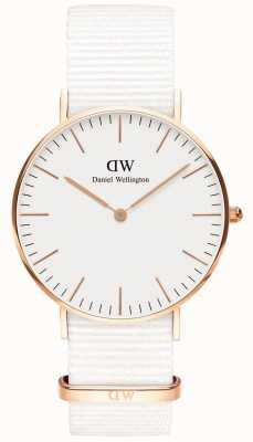 Daniel Wellington Classic 36mm Dover | Rose Gold Case | White Strap DW00100309