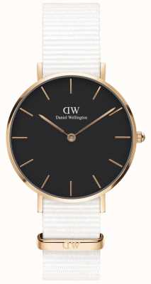 Daniel Wellington Womens Petite 32mm Dover | Black Dial | White Strap | DW00100312