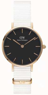 Daniel Wellington Womens Petite 28mm Dover | Black Dial | White Strap | DW00100314