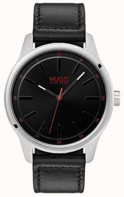 HUGO #DARE | Black Leather Strap | Black Dial 1530018