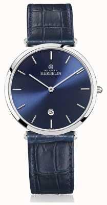 Michel Herbelin | Men's | Epsilon | Blue Leather Strap | Blue Dial | 19406/15BL