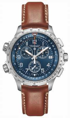 Hamilton | Khaki Aviation X-Wind GMT | Blue Dial | Brown Leather | H77922541
