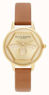 Olivia Burton | 3D Bee Charity Watch | Vegan Tan Leather |Gold Bee Motif | OB16AM167