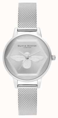 Olivia Burton   3D Bee Charity Watch   Silver Mesh Bracelet l OB16AM168