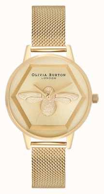 Olivia Burton | 3D Bee Charity Watch | Yellow Gold Mesh Bracelet | OB16AM169