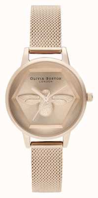 Olivia Burton | 3D Bee Charity Watch | Rose Gold Mesh | Rose Gold Bee | OB16AM170