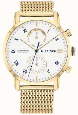 Tommy Hilfiger | Mens Gold Steel Mesh Bracelet | White Dial | 1710403