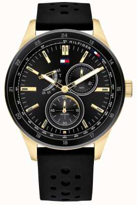 Tommy Hilfiger | Mens Black Rubber Strap | Black Dial | 1791636