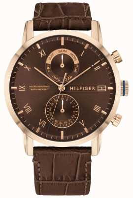 Tommy Hilfiger | Mens Brown Leather Strap | Brown Dial | 1710400