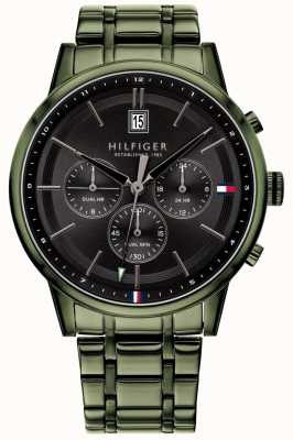 Tommy Hilfiger | Mens Green PVD Plated Bracelet | Black Dial | 1791634