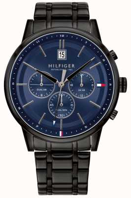 Tommy Hilfiger | Men's Black PVD Plated Bracelet | Blue Dial | 1791633