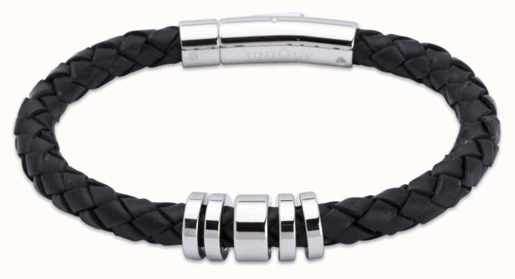 Unique & Co Black Leather | Steel Elements | Bracelet A65BL/21CM