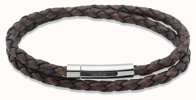 Unique & Co Dark Brown Leather |Steel Clasp | Bracelet B171ADB/21CM