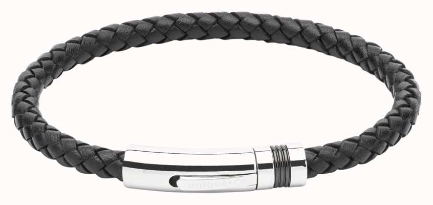 Unique & Co Black Leather |Steel Clasp | Bracelet B345BL/21CM