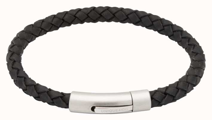 Unique & Co Black Leather | Steel Clasp | Bracelet B399BL/21CM